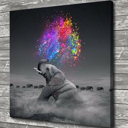 "12""x12"" Elephant Spray Color Painting HD Print Canvas Home D"