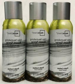 3 Mainstays FRESH COTTON Odor Neutralizing Room Spray 4 oz