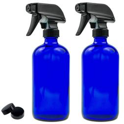Empty Blue Glass Spray Bottle - Large 16 oz Refillable Conta