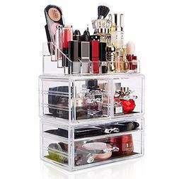 DreamGenius Makeup Organizer 3 Pieces Acrylic Cosmetic Stora