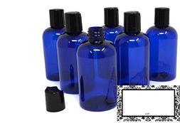 BAIRE BOTTLES - 4 oz BLUE PLASTIC REFILLABLE BOTTLES, BLACK