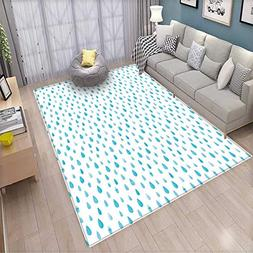 Blue and White Kids Carpet Playmat Rug Watercolor Drip Drops