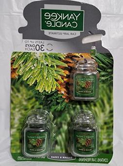 Yankee Candle 3 Pack Car Jar Fragrance Balsam & Cedar 0.5 Oz