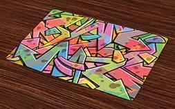 Ambesonne Colorful Place Mats Set of 4, Abstract Grunge Arro