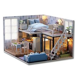 CuteBee Dollhouse Miniature with Furniture, DIY Wooden DollH