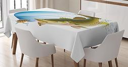 Ambesonne Fishing Decor Tablecloth, Largemouth Sea Bass Catc