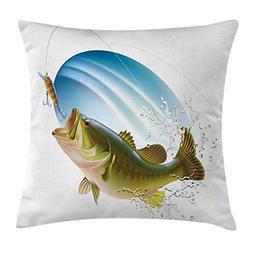 Ambesonne Fishing Decor Throw Pillow Cushion Cover, Largemou