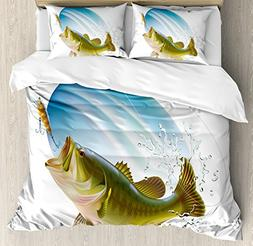 Ambesonne Fishing Decor Duvet Cover Set, Largemouth Sea Bass