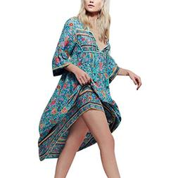 BeautyVan Floral Print Boho Dresse, Fashion Design Women Flo