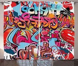 Ambesonne Graphic Decor Curtains, Hip Hop Street Culture Har