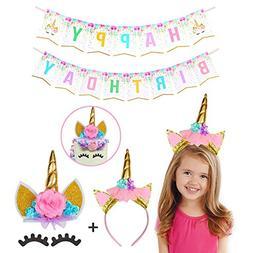Handmade Gold Unicorn Birthday Cake Toppers set.Unicorn Horn