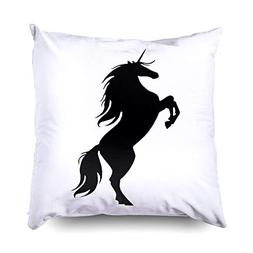 TOMWISH Hidden Zippered Pillowcase Black Unicorn Silhouette