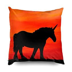 TOMWISH Hidden Zippered Pillowcase Sunset Unicorn 20X20Inch,