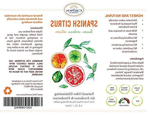 NATURAL Air Freshener Citrus Freshner for Rooms Odor using Essential
