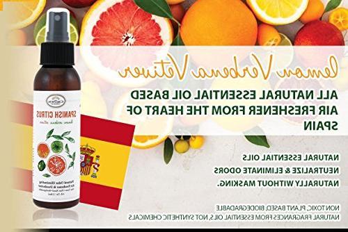 NATURAL Deodorizer Spray Air Freshener Lemon Citrus Verbena Freshner for & Odor using Oils