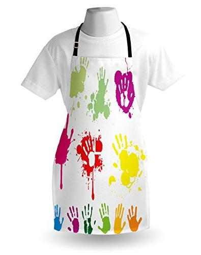 Ambesonne Wall Hand Prints Splashing Circles Teenagers Color Artwork Image, Bib with Neck for Baking
