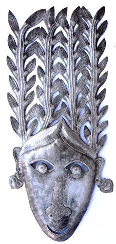 "Green Goddess Mask Haiti Recycled Metal Wall Art, 7.5""x17.5"""