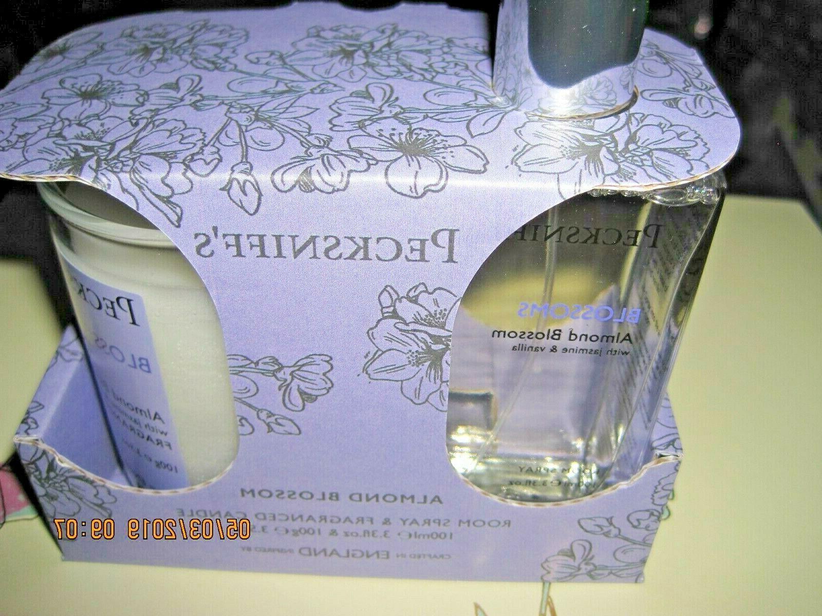 Pecksniff's Almond Blossom Jar Candle 3.5oz Spray 3.3 oz Set New box