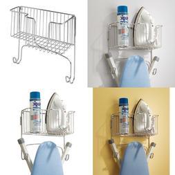 mDesign Ironing Board Holder with Storage Basket for Clothin