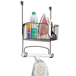 Mdesign Over The Door Ironing Board Holder With Storage Bask