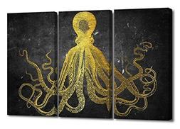 octopus canvas wall print vintage