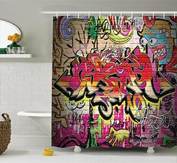 Rustic Home Decor Shower Curtain by Ambesonne, Graffiti on W