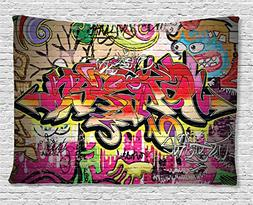 Rustic Home Decor Tapestry by Ambesonne, Graffiti on Wall Ur