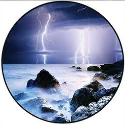 Short Plush Rugs mat Summer Storm Flashes Over The Rocks in