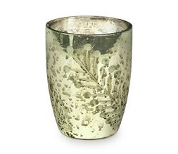 Soy Wax Candle in Etched Mint Mercury Glass, 10-Ounce, Balsa