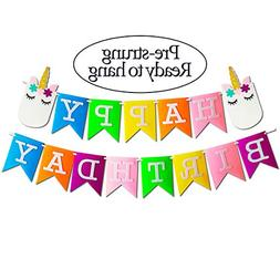 Unicorn Happy Birthday Banner with Glitter Gold Horn and Slu