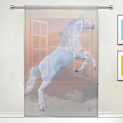 Unicorn Window Sheer Curtain Panels, Christmas Decoration, D