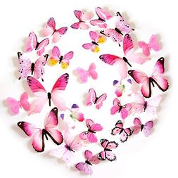 FLY SPRAY 24pcs Vivid Pink Butterfly Mural Decor Removable W